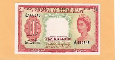 1953 Ten Dollars Malaya And British Borneo Note In Ucirculated Condition