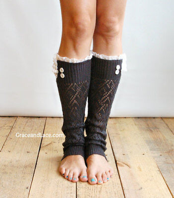 Grace And Lace Lacey Lou Knit Lace Knee High Leg Warmers Graphite Nwt