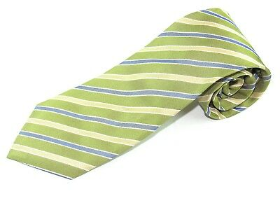 Mens Silk Necktie By Hugo Boss Green Blue Gold Stripes Made In Italy Neck Tie
