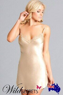 NEW Be Wicked Veronica Classic Nude Satin Chemise, Babydoll/Chemise, Sleep Wear