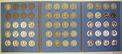 Partial One-A-Year Set of Silver and Clad Quarters, 1916 to 1979 in Used Folder