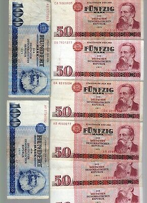 EAST GERMANY:  LOT OF EIGHT NOTES - 50 and 100 Marks  (1971/75)