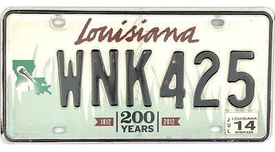 2012 Louisiana 200 Years Graphics License Plate #WNK425 With 2014 Sticker