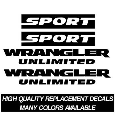 2007-2017 Jeep Wrangler Unlimited Sport JK Replacement Decal Kit Stickers TJ