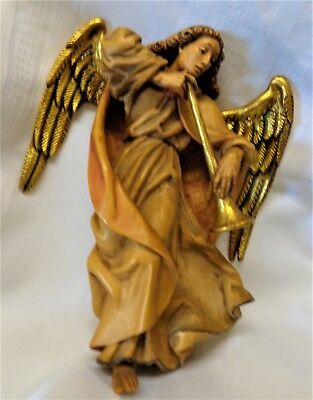 """Anri Carved Wood Flying Angel with Heavenly Trumpet 8 1/4"""" Tall Vintage"""
