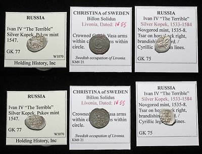 MEDIEVAL. Lot of 3 Hammered Silver/Billon coins, Livonia (Swedish), Russia