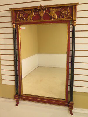 F38766: Neo Classical Style Paint Decorated Mirror w. Griffins