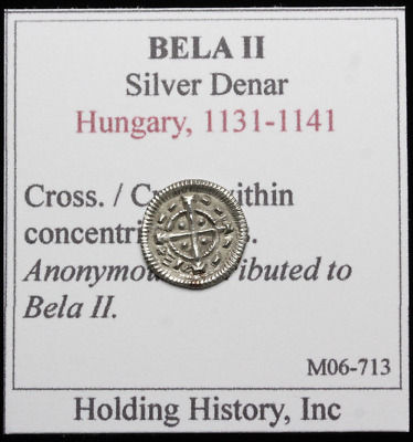 HUNGARY. Anonymous Hammered Silver Denar, Attributed to Bela II, AD 1131-1141