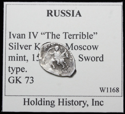 """RUSSIA. Ivan IV """"The Terrible"""", Hammered Silver Kopek, Wire Money, G&K 73"""