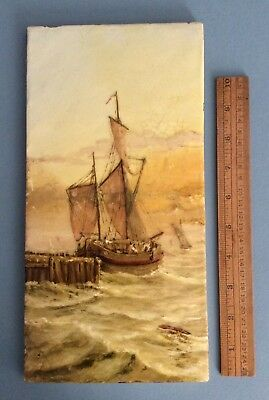 Antique  Burmantofts Faience Pottery Hand Painted Ship Scenic Tile H Leach