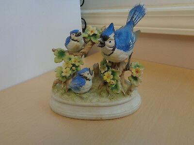 Nice Vintage Porcelain Bluejay and Chicks Figurine-Royal Crown