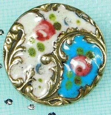 Antique FRENCH Robin Egg BLUE Champleve Enamel BUTTON Tiny Pink Flowers 9/16 #21
