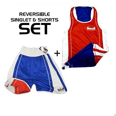 Morgan Reversible Boxing Singlet And Short SET Red Blue Competition ABA NSW