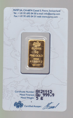 Pamp Suisse 5 Gram Fine Gold Bullion Bar 9999 certified A-364