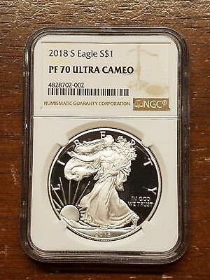 2018-S Proof Silver American Eagle $1 NGC PF70 Ultra Cameo