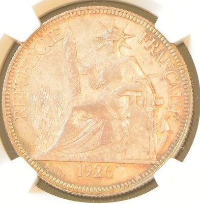 1926 A FRENCH INDO-CHINA One Piastre Silver Coin NGC AU Details