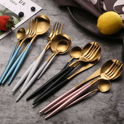 Stainless Steel Pink Golden Cutlery Set Gold Plated Wedding Dinnerware 6 Colors