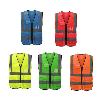 High Visibility Safety Vest With Zipper Reflective Jacket Security Traffic AT