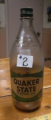 Rare Old Quaker State One Quart Glass Oil Bottle Jar Paper Label Tin Can