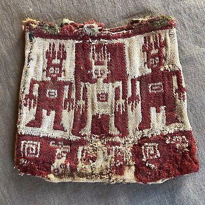Wari Red And White Ancient Peruvan Bag Textile Pre Inca Nazca Pre Columbian Peru