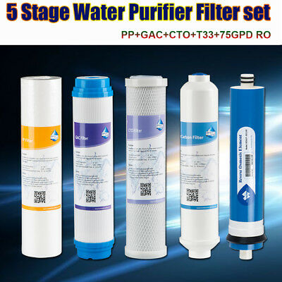 5 Stage Reverse Osmosis Refill Water Filter Set fit Proline Plus 75GPD RO System