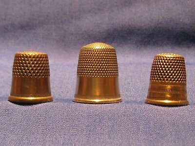 Lot of 3 Vintage Brass tone or plated Metal Thimbles