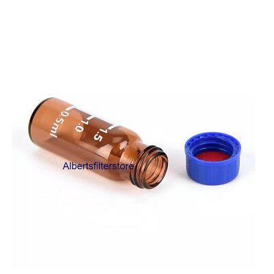 100Pc 2ml Brown Round Glass Reagent Bottle Blue Screw Lid Graduation Sample Vial