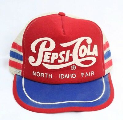 VINTAGE 1970s 3 STRIPE PEPSI COLA SNAPBACK MESH TRUCKER HAT MADE IN USA