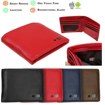 Genuine Bluetooth Mens Leather Wallet Anti theft/Lost Smart Finder Alarm GPS Map
