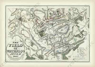 The Field of Waterloo Battle old map plan antique print J. Booth 1816 art poster