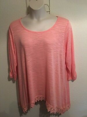 French Laundry Womens Plus Size 2x Coral Lace Trim Top