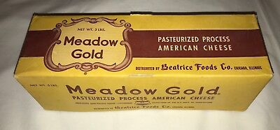 Vintage MEADOW GOLD Cardboard Process Cheese Box BEATRICE FOODS CO. Chicago 5 LB