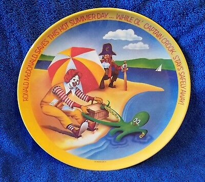 Vintage Ronald McDonald Saves This Hot Summer Day Melamine Plate - 1977