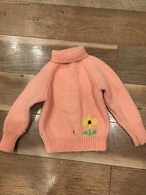 toddler 2t 3t handmade floral vintage sweater peach colored