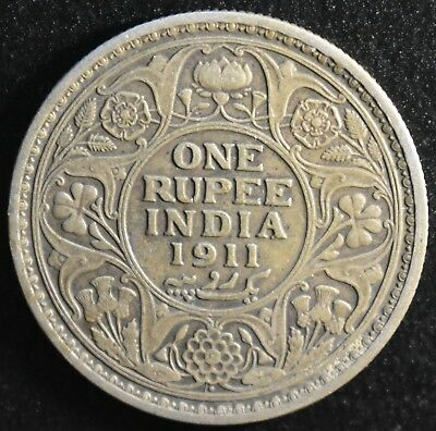 One Rupee 1911 Bombay Mint King George V British India Silver Coin