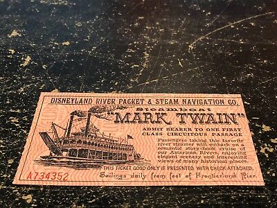 Disneyland Park Mark Twain Steamboat ride ticket 1950s EARLY NUMBER A734352