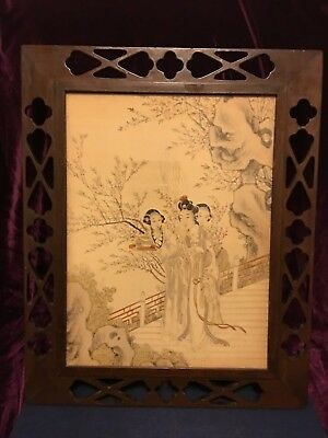 Pair Antique Chinese Traditional lady in garden pattern real hand-painting