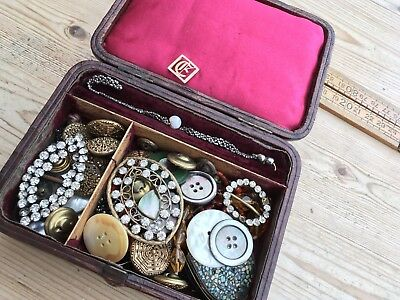 A Collection Of Vintage /Antique Jewellery Pieces, Gold, Beads, Buttons Etc