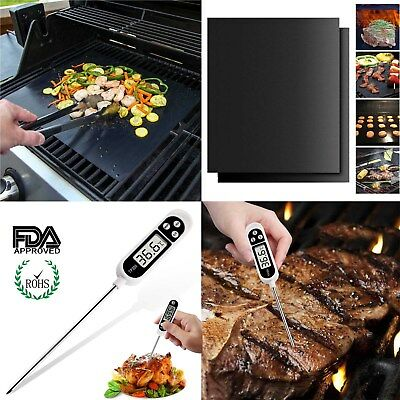 [Heavy Duty] FDA Approved BBQ Grill Mats Cooking Thermometer For BBQ Grilling AU