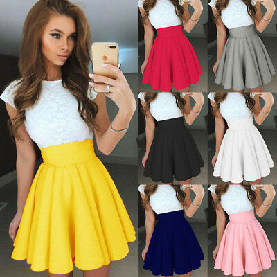 Women High Waist Pleated Flared Skater Mini Skirt Plain Party Formal Short Skirt