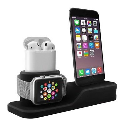 3 In 1 Charging Dock For iPhone X Apple Watch AirPods Silicon Stand