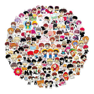 100x/Set KPOP BTS Cartoon Q Version Stickers Laptop Car Luggage Sticker Popular