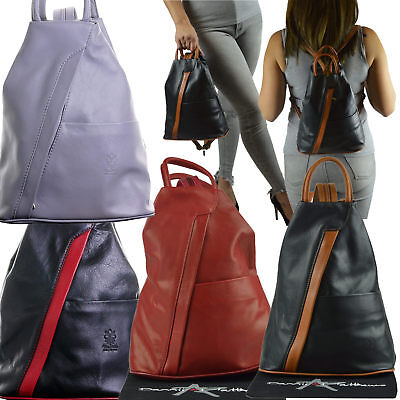 Womens Leather Backpack Anti-Theft Rucksack Bag Soft Italian Leather, 12 Colours