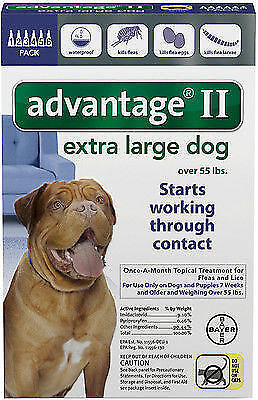 Bayer Advantage II Flea Treatment for Extra Large Dogs Over 55 lbs (6 Count)