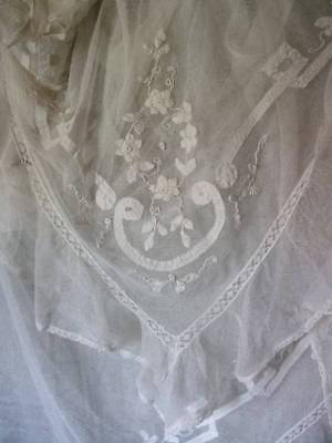 French Chateau Antique Large Lace Frilly Panel  c1880s