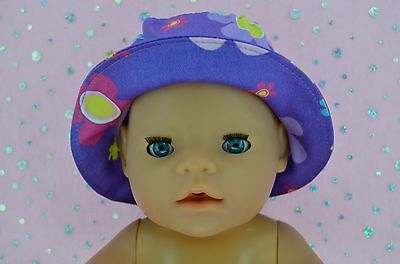 """Play n Wear Doll Clothes To Fit 17"""" Baby Born PURPLE/FLOWER DRILL SUN HAT"""