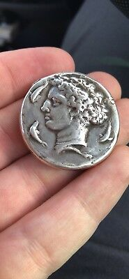 Extremely Rare Antique Novelty Solid Silver Vesta Case Match Safe - Roman Coin