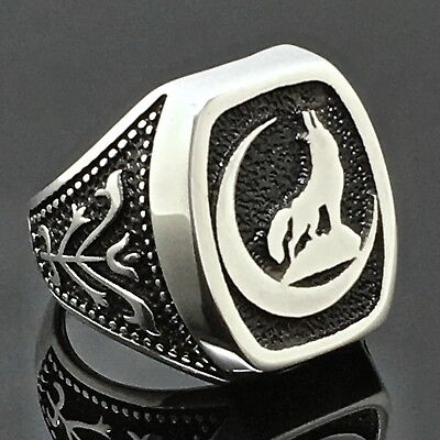925 Sterling Silver Mens ring with howling Wolf at the moon size10 free resizing