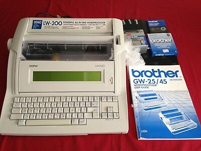 BROTHER LW-200 POWERFUL ALL IN ONE WORD PROCESSOR With Manual, Ink, Disks, etc