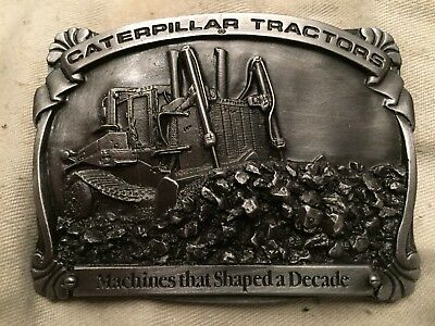 """1988 Caterpillar CAT Tractors Belt Buckle """"machines that shaped a decade"""" Pewter"""